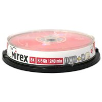 DVD+R Mirex Dual Layer PRINTABLE CakeBox 10шт 8x  (8.5GB)